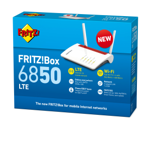 AVM FRITZ!Box 6850 LTE router wireless Gigabit Ethernet Dual-band (2.4 GHz/5 GHz) 3G 4G Rosso, Bianco
