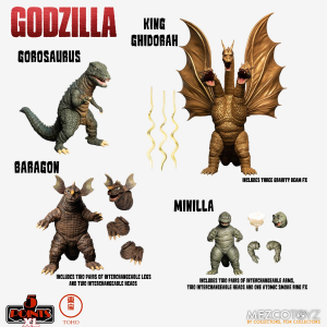 *PREORDER* Godzilla: Destroy All Monsters 5 Points XL: DELUXE BOX SET ROUND 2 by Mezco Toys