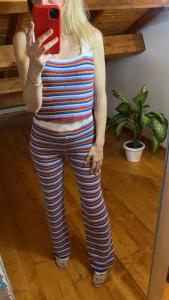 Pantaloni rigati in maglia di cotone traforata Tensione In