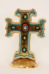 Croce terracotta decoro bizantino con base in metallo