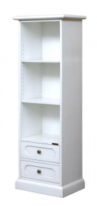 Space saving bookcase with 2 drawers