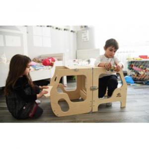 Torre Montessoriana convertibile in legno naturale - da 1 anno