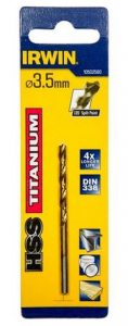 Punta elicoidale per ferro rivestita Hss Tin mm 3.5 Irwin HSS Titanium