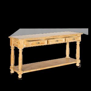 Consolle in legno di teak decapato white con 3 cassetti e 1 ripiano