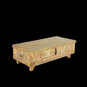 Baule in legno di teak recuperato con timbrini per la stampa dei tessuti