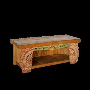 Porta TV in legno di teak con recuperi laterali frame vecchi palazzi