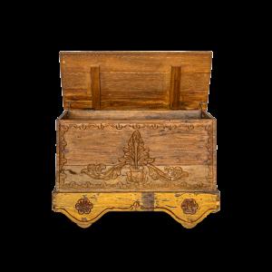 Baule intagliato in legno di teak recuperato indonesiano