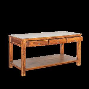 Tavolo isola in legno di palissandro indiano (sheesham wood) con 3 cassetti