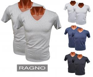 RAGNO. 2x Maglietta intima Uomo a manica corta, scollo V. 065418 in 100% Cotone.