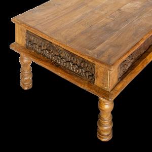 Tavolino da salotto in legno di teak recuperato con frame antique