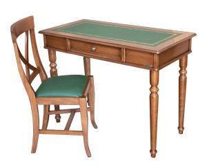 Mesa de despacho con cajón y tablero en eco-cuero y silla