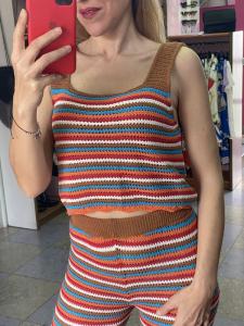 Top rigato in maglia di cotone multicolor Tensione In