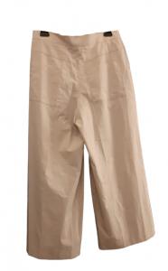 Pantaloni donna| tinta gesso|cotone stretch|gamba larga|Made in Italy