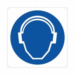 Cartello pittogramma obbligo uso protezioni acustiche M003