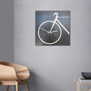 Orologio da parete Bike On industrial in ferro nero vintage 50x50