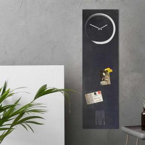 Orologio/lavagna magnetica da parete S-Enso in ferro nero vintage orizzontale 30x100