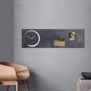 Orologio/lavagna magnetica da parete S-Enso in ferro nero vintage verticale 100x30