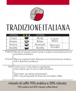 Miscela di Caffè Tradizione Italiana, confezioni da 250gr e 1 kg