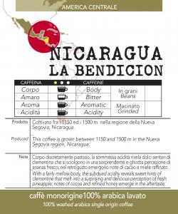 Caffè monorigine Nicaragua-La Bendicion confezioni da 250gr e 1kg