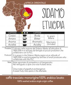 Caffè monorigine  Etiopia Sidamo confezioni da 250gr e 1kg