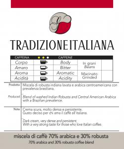 Miscela di caffè Tradizione Italiana macinato  confezioni da 250 gr e 1kg