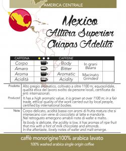 Caffè monorigine Mexico Altura Superior Chiapas Adelita macinato, confezioni da 250 gr e 1kg