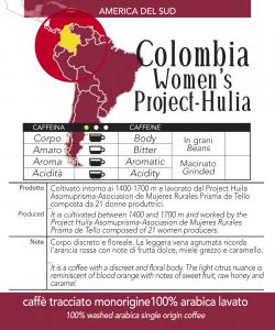 Caffè monorigine Colombia Women's Project Huila macinato, confezioni da 250 gr e 1kg