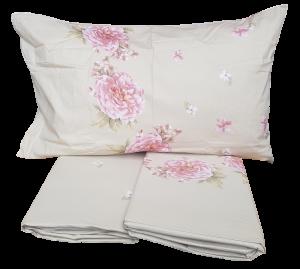 Completo letto, lenzuola in 100% Puro Cotone. CALEFFI PEONIE. Set, biancheria