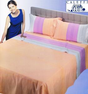 Completo letto, Lenzuola Puro Cotone. CALEFFI GLAMOUR, SUNNY. 1 piazza e mezza.