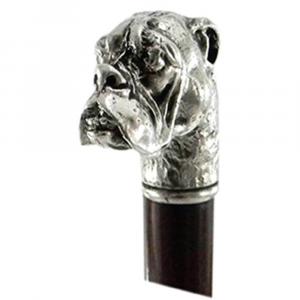 Bastone da passeggio in legno e peltro impugnatura cane bulldog