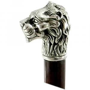 Bastone da passeggio in legno e peltro impugnatura leone