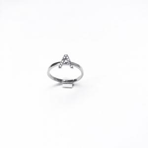 Anello lettera in strass argento 925