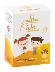 OMEGOR KIDS CAPSULE MASTICABILI - INTEGRATORE A BASE DI OMEGA 3, VITAMINA D3 E VITAMINA E