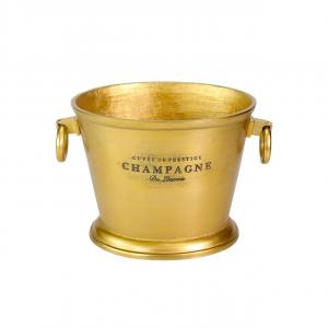 Secchiello champagne portabottiglie ovale con manici, alluminio anodizzato argento, per 2 o 3 bottiglie