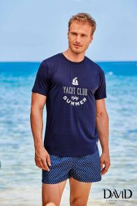 T-shirt uomo in maglinamanica corta girocollo blu DAVID