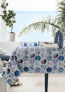 Tovaglia Antimacchia Impermeabile in Cotone 100% NATURALE, Design con Decorazioni tipiche | MOSAICO