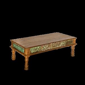 Tavolino da salotto in legno di teak recuperato con frame antique green