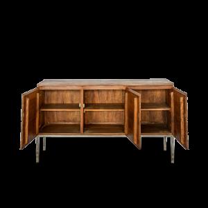 Buffet con 3 ante in legno di palissandro indiano opaco con gambe in acciaio inox