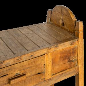 Consolle piccola in legno di teak recuperato con cassetto centrale