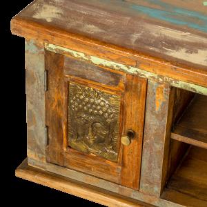Porta TV con 2 ante e 2 ripiani in legno recuperato di teak con frontale pannelli raffigurazione Buddha