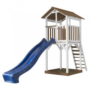 Beach Tower Basic Marrone/Bianco con scivolo blu Axi Playhouse