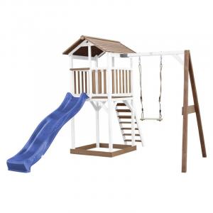 Beach Tower with Single Swing Marrone/bianco con scivolo Blue Axi Playhouse