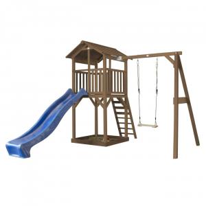 Beach Tower with Single Swing Marrone con scivolo Blue Axi Playhouse