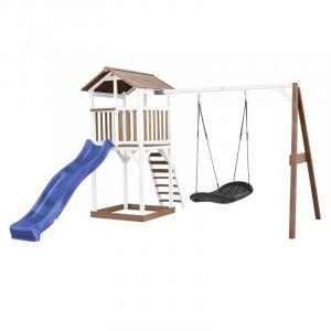 Beach Tower con altalena Roxy Nest Marrone/Bianco e scivolo Axi Playhouse