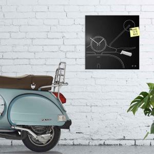 Orologio da muro Organizer Scooter in lamiera nera 50x50 cm