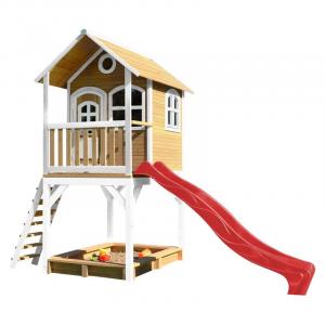 Casetta per Bambini in Legno con Sabbiera e scivolo rosso SARAH di AXI Playhouse