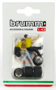 Set Cambio Gomme - Tyre Change 2 Meccanici Ferrari + Etichette 1 Bombola Aria 1 Set Gomme 1 Cric 1/43 Brumm
