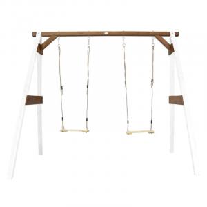 AXI Doppia Altalena per bambini in legno da giardino White/brown