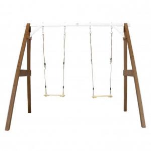 AXI Doppia Altalena per bambini in legno da giardino Brown/white