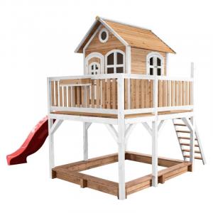 Casetta per Bambini in Legno di Cedro con sabbiera Axi Playhouse Brown/white
